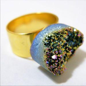 Aura quartz druzy adjustable ring